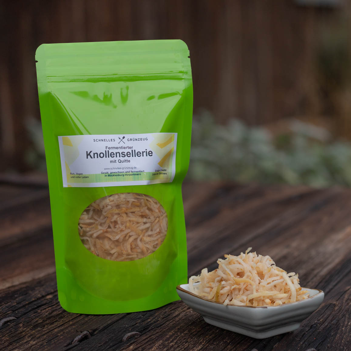 Fermentiertes Gemüse von Schnelles Grünzeug, hier fermentierter Sellerie mit Quitte